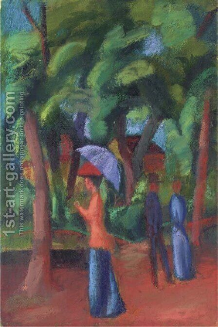 Spaziergang im Park by August Macke - Reproduction Oil Painting