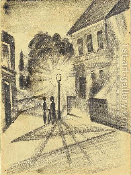 Strassenbild am Abend II by August Macke - Reproduction Oil Painting