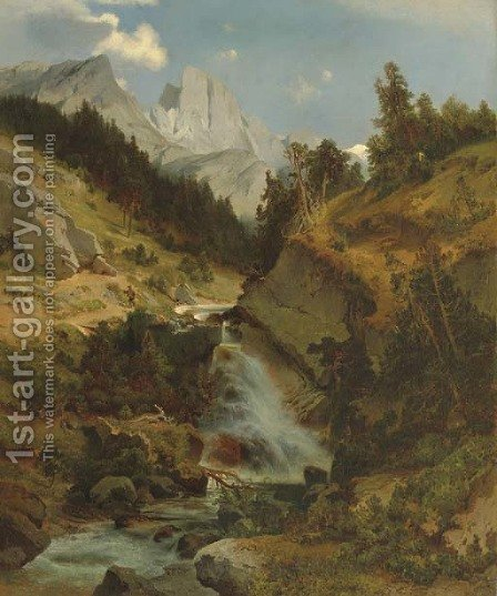 Mountain Lanscape with River by August Schaeffer - Reproduction Oil Painting