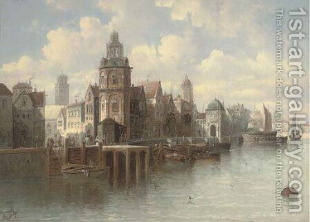 A continental quay by August von Siegen - Reproduction Oil Painting