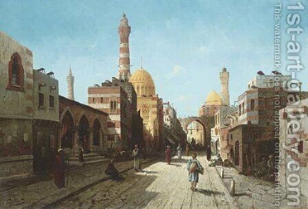 A Street Scene in the Levant, Afternoon by August von Siegen - Reproduction Oil Painting