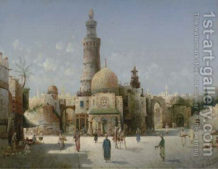 An Oriental Town by August von Siegen - Reproduction Oil Painting