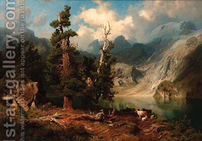 A mountainous lake landscape by August Wilhelm Leu - Reproduction Oil Painting