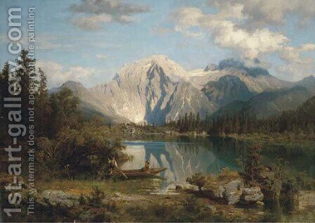 In the shadow of the Alps by August Wilhelm Leu - Reproduction Oil Painting