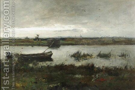 A polder landscape near Kortenhoef by August Willem van Voorden - Reproduction Oil Painting