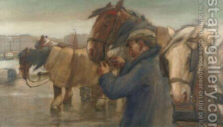 Tending to the horses on a Rotterdam quay by August Willem van Voorden - Reproduction Oil Painting