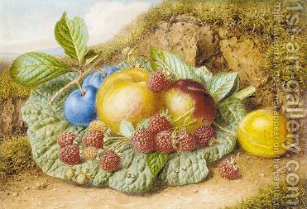 Still life with nectarines, raspberries and plums on a mossy bank by Augusta Innes Withers - Reproduction Oil Painting