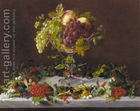 Grapes and peaches in a tazza with wild berries on a marble ledge by Augusta Laessoe - Reproduction Oil Painting