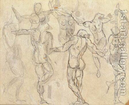 Etudes pour 'La Ronde' by Auguste Rodin - Reproduction Oil Painting