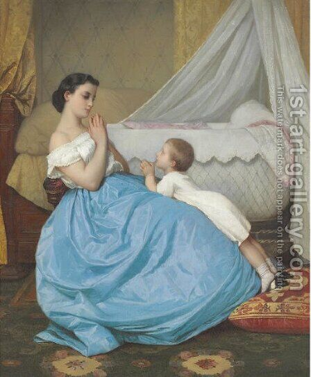 A Bedtime Prayer by Auguste Toulmouche - Reproduction Oil Painting