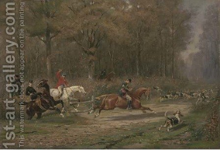 A chase through the woods, the huntsman's horn sounding by Auguste-Henri-Louis De Clermont - Reproduction Oil Painting