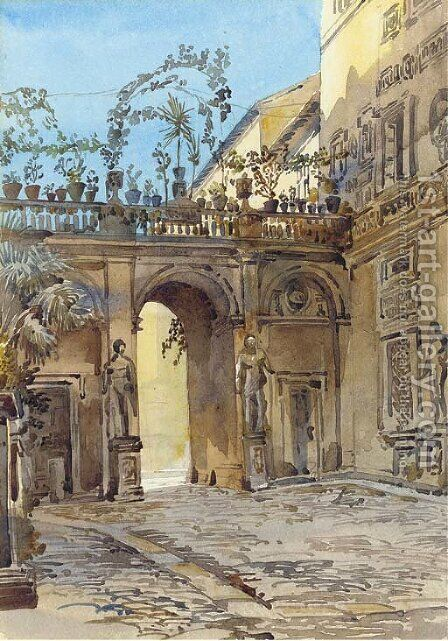 Palazzo Antichi Mattei, Rome by Augustus John Cuthbert Hare - Reproduction Oil Painting