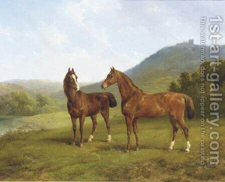 Horses in a valley by Augustus Knip - Reproduction Oil Painting