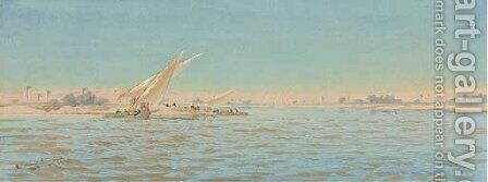 Feluccaas on the Nile by Augustus Osborne Lamplough - Reproduction Oil Painting