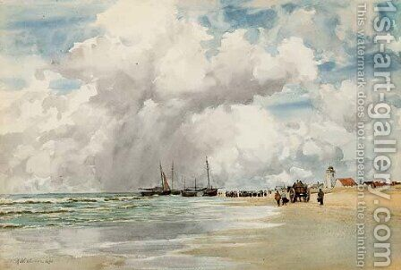 On the Dutch coast by Augustus Watford Weedon - Reproduction Oil Painting