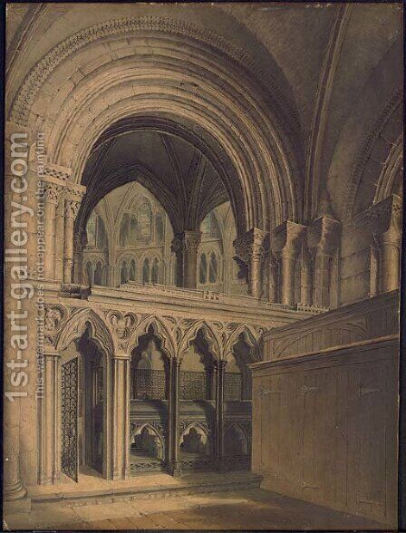 Interior of Gloucester Cathedral by Augustus Northmore Welby Pugin - Reproduction Oil Painting