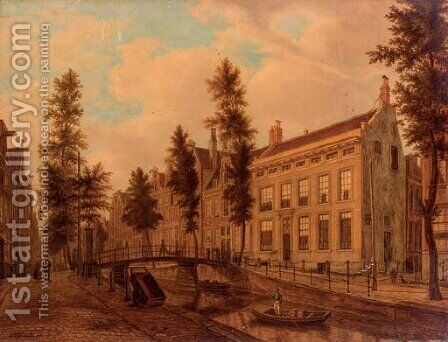 A view of unidentified canal houses by Augustus Wijnantz - Reproduction Oil Painting