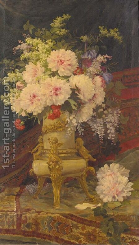 Summer flowers in an ormolu mounted vase by Aurelio Tolosa Alsina - Reproduction Oil Painting