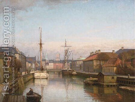 Vessels at a Danish port by Axel Johansen - Reproduction Oil Painting