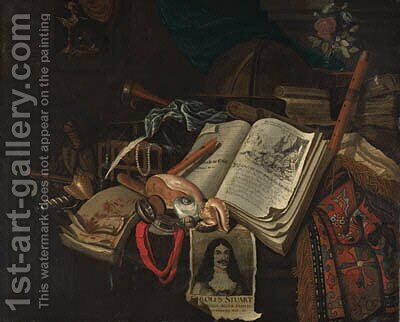 A vanitas still life of books and scrolls by B. Van Eijsen - Reproduction Oil Painting