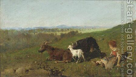 The little goat herder by Baldomer Galofre Giménez - Reproduction Oil Painting