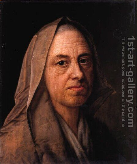 A study of an old woman, head and shoulders, wearing a veil by Balthasar Denner - Reproduction Oil Painting