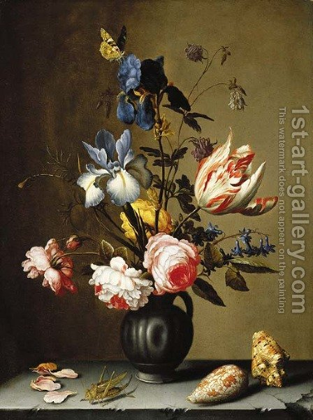 Irises, roses, columbine, hyacinth and a tulip in a black pottery pitcher, with seashells and a grasshopper on a stone ledge by Balthasar Van Der Ast - Reproduction Oil Painting