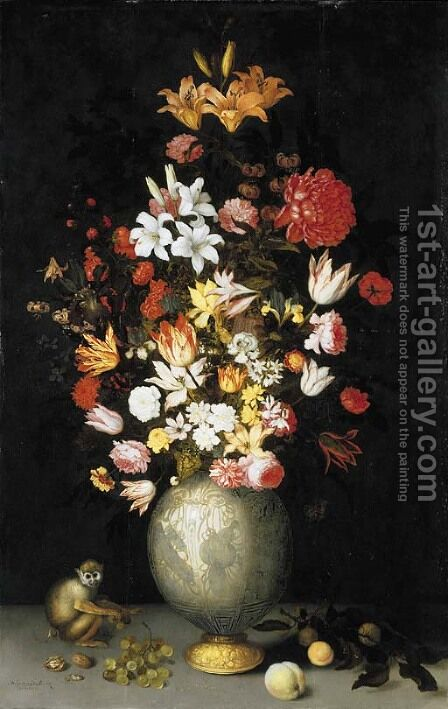 Lilies, roses, irises, tulips, narcissi, carnations and other flowers in a Chinese celadon ormulu-mounted vase, with a squirrel monkey, apricots by Balthasar Van Der Ast - Reproduction Oil Painting