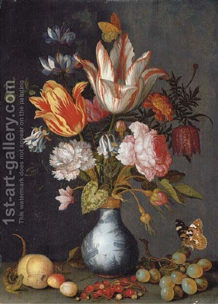 Tulips, a rose, a carnation, cyclamen, snake's head fritillary, double columbine, rosebuds and marigolds by Balthasar Van Der Ast - Reproduction Oil Painting