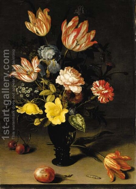 Tulips, irises, roses, forget-me-nots, chrysanthemums and hypericum in a roemer, with cherries, a plum, a tulip and a caterpiller on a stone ledge by Balthasar Van Der Ast - Reproduction Oil Painting