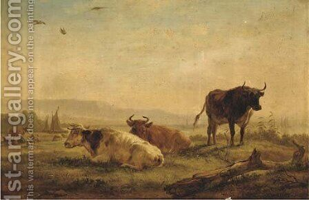 A landscape with cattle on a riverbank by Balthasar Paul Ommeganck - Reproduction Oil Painting