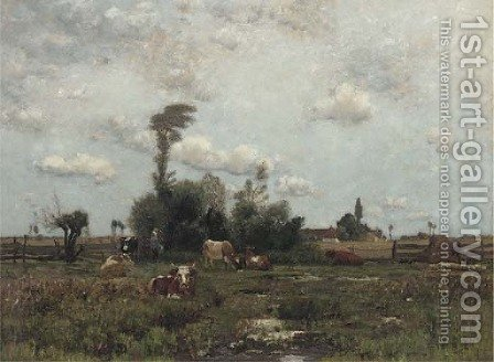 Cattle in a farm landscape by Barbizon School - Reproduction Oil Painting