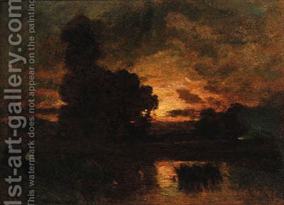 The sun setting on a lake landscape by Barbizon School - Reproduction Oil Painting