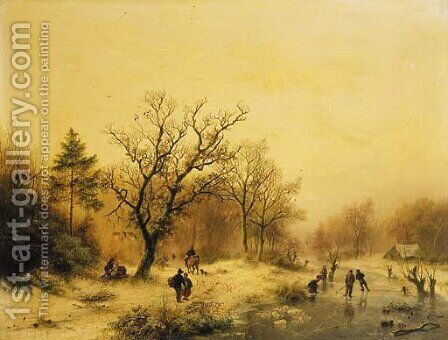 A snow-covered forest with skaters on a frozen waterway by Barend Cornelis Koekkoek - Reproduction Oil Painting