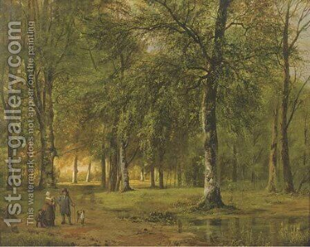 A view of a park with figures by Barend Cornelis Koekkoek - Reproduction Oil Painting
