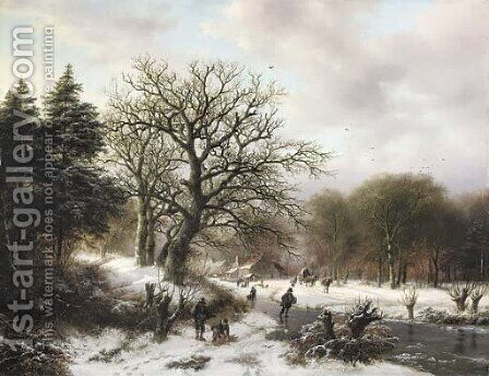 A winter landscape with wood gatherers and skaters by Barend Cornelis Koekkoek - Reproduction Oil Painting