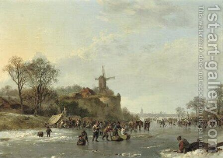 An extensive winter landscape with numerous figures by a 'koek en zopie', an iceskating race in the distance by Barend Cornelis Koekkoek - Reproduction Oil Painting