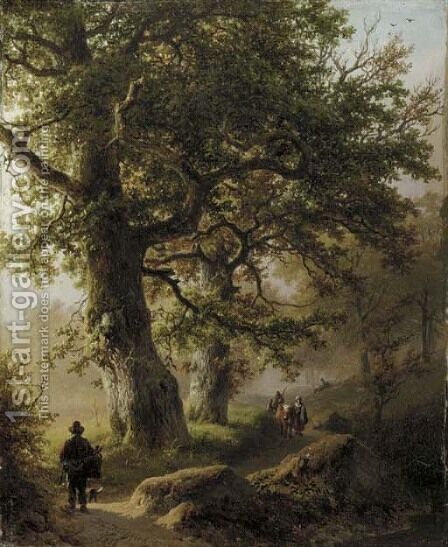 Boschgezigt bij morgenstond travellers on a forest path by Barend Cornelis Koekkoek - Reproduction Oil Painting