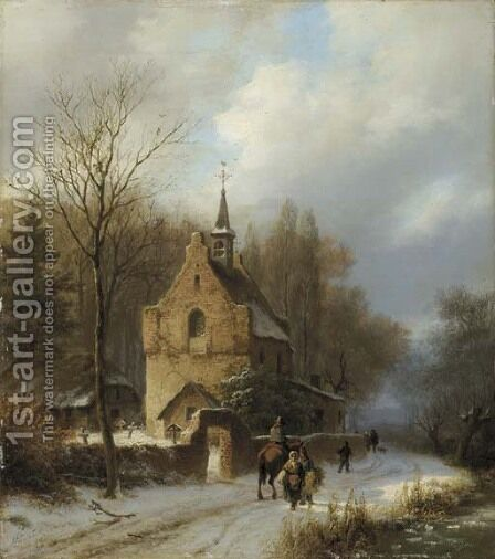 Een boomrijk landschap met een kapel bij winter peasants passing a chapel in winter by Barend Cornelis Koekkoek - Reproduction Oil Painting