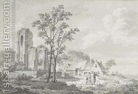 Figures conversing by a farmhouse and a ruin by Barend Cornelis Koekkoek - Reproduction Oil Painting