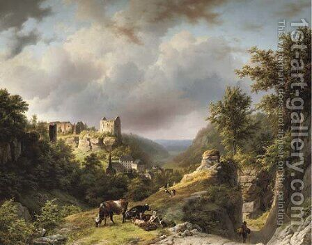 Figures on a mountain pass with the village and the Chateau of Larochette in the distance, Luxembourg by Barend Cornelis Koekkoek - Reproduction Oil Painting
