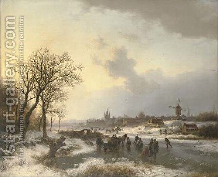 Late afternoon with numerous skaters by a town by Barend Cornelis Koekkoek - Reproduction Oil Painting