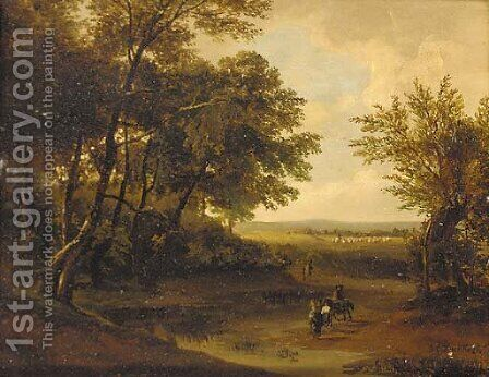 Travellers in a wooded landscape by Barend Cornelis Koekkoek - Reproduction Oil Painting