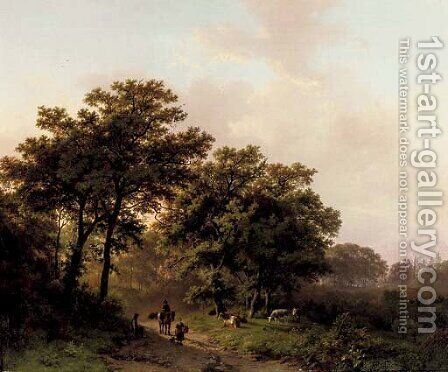 Travellers on a wooded path at sunrise by Barend Cornelis Koekkoek - Reproduction Oil Painting