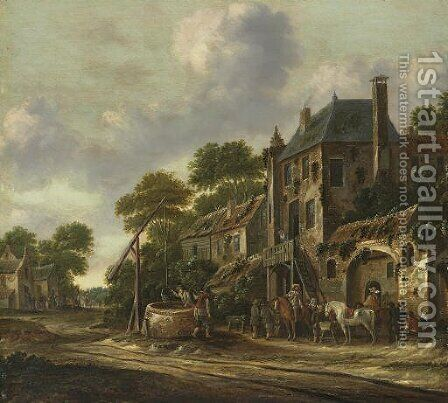Travelers in a village landscape by Barend Gaal Harlem - Reproduction Oil Painting