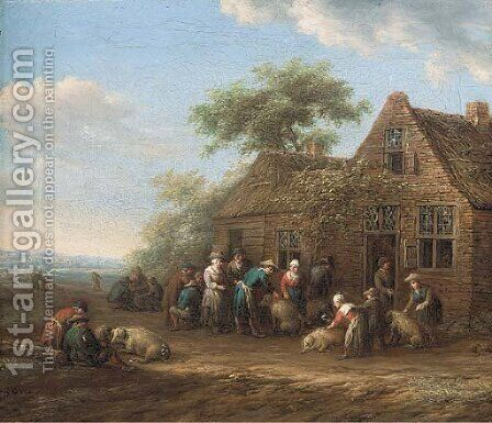 Peasants outside an inn preparing pigs for market by Barent Gael - Reproduction Oil Painting