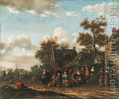 Peasants merrymaking in a village street by Barent Gael - Reproduction Oil Painting