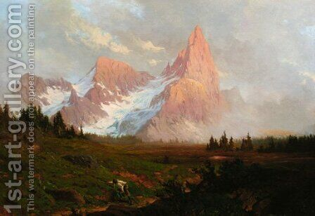 An extensive Alpine landscape by Baron Heinrich Von Pechmann - Reproduction Oil Painting