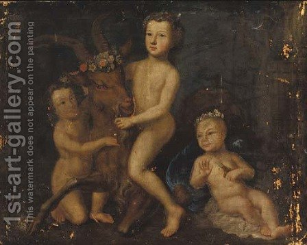 Three putti playing with a goat by Barthelemy Guillibaud - Reproduction Oil Painting