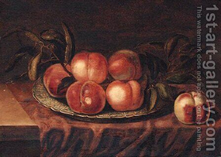 Peaches on a porcelain dish, on a partially draped ledge by Bartholomeus Assteyn - Reproduction Oil Painting